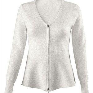 CAbi Sweaters - CAbi Willow Full Zip Peplum Cardigan Sweater Sz S